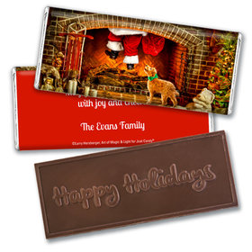 Personalized Christmas Santa's Puppy Embossed Chocolate Bar
