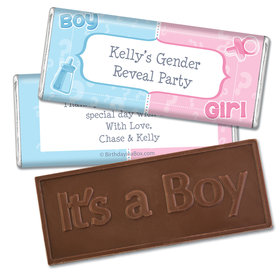 Pick a Side Gender Reveal Embossed It's a Boy Chocolate Bar & Wrappers