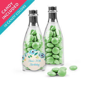 Personalized Birthday Favor Assembled Champagne Bottle with Just Candy Milk Chocolate Minis