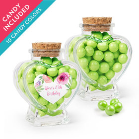 Personalized Birthday Favor Assembled Heart Jar with Sixlets