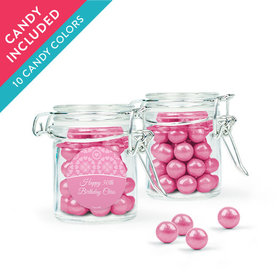Personalized Birthday Favor Assembled Swing Top Round Jar with Sixlets