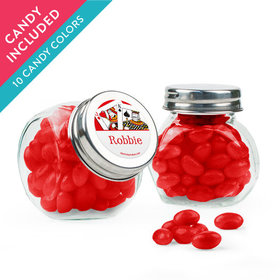 Personalized Birthday Favor Assembled Mini Side Jar with Just Candy Jelly Beans