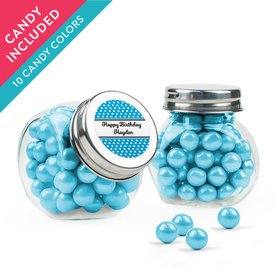 Personalized Birthday Favor Assembled Mini Side Jar with Sixlets