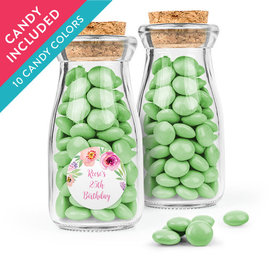 Personalized Birthday Favor Assembled Glass Bottle with Cork Top with Just Candy Milk Chocolate Minis