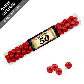 Personalized Milestones 50th Birthday Favor Assembled Clear Tube with Sixlets