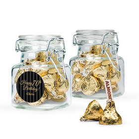 Personalized Milestones 70th Birthday Favor Assembled Swing Top Square Jar with Hershey's Kisses