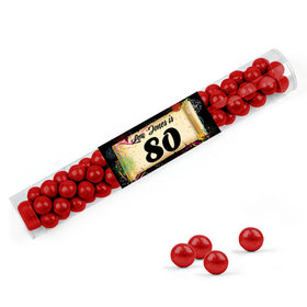 Personalized Milestones 80th Birthday Favor Assembled Clear Tube with Sixlets