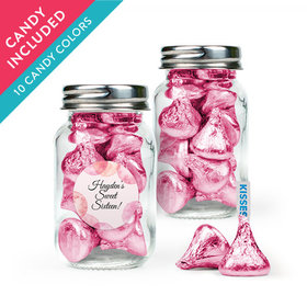 Personalized Sweet 16 Birthday Favor Assembled Mini Mason Jar with Hershey's Kisses