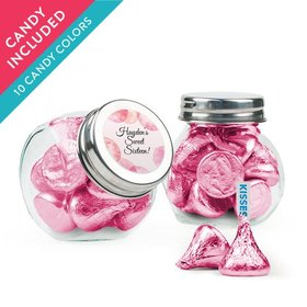 Personalized Sweet 16 Birthday Favor Assembled Mini Side Jar with Hershey's Kisses