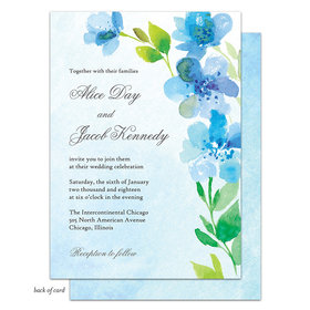 Bonnie Marcus Collection Personalized Blue Floral Invitation