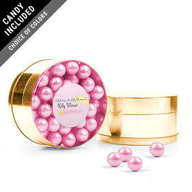 Personalized Baby Shower Favor Assembled Small Round Plastic Tin with Sixlets