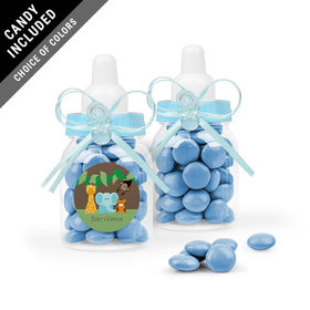 Personalized Baby Shower Favor Assembled Light Blue Baby Bottle with Just Candy Milk Chocolate Minis