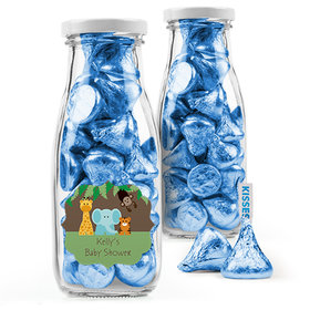 Personalized Baby Shower Favor Assembled Milk Bottle Jar with Hershey's Kisses
