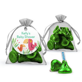 Personalized Baby Shower Favor Assembled Organza Bag with Hershey's Kisses