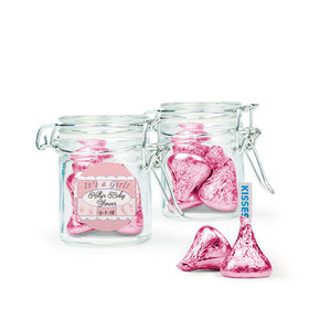 Personalized Baby Shower Favor Assembled Swing Top Round Jar with Hershey's Kisses