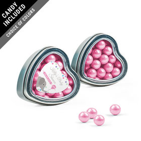 Personalized Baby Shower Favor Assembled Heart Tin with Sixlets