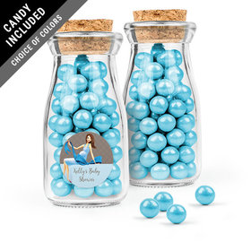 Personalized Baby Shower Favor Assembled Glass Bottle with Cork Top with Sixlets