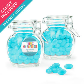 Personalized Thank You Favor Assembled Swing Top Jar with Just Candy Jelly Beans
