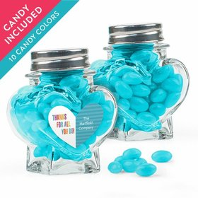 Personalized Thank You Favor Assembled Heart Jar with Just Candy Jelly Beans