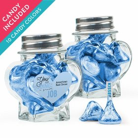 Personalized Thank You Favor Assembled Heart Jar with Hershey's Kisses
