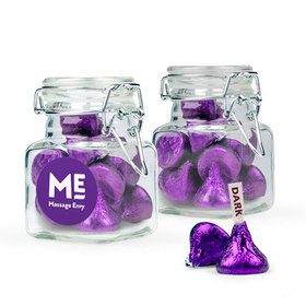 Personalized Thank You Favor Assembled Swing Top Square Jar with Hershey's Kisses