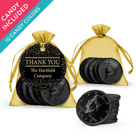 Personalized Thank You Favor Assembled Organza Bag, Gift tag with Milk Chocolate Coins