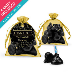 Personalized Thank You Favor Assembled Organza Bag with Hershey's Kisses
