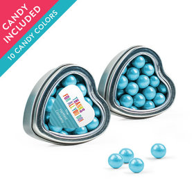 Personalized Thank You Favor Assembled Heart Tin with Sixlets