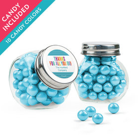 Personalized Thank You Favor Assembled Mini Side Jar with Sixlets