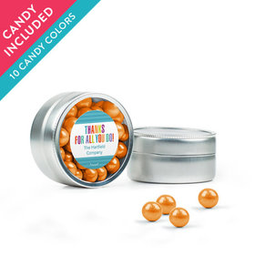 Personalized Thank You Favor Assembled Mini Round Tin with Sixlets