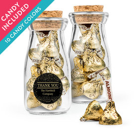 Personalized Thank You Favor Assembled Glass Bottle with Cork Top with Hershey's Kisses