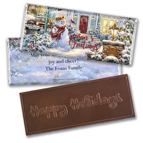 Personalized Christmas Silent Night Lane Embossed Chocolate Bar