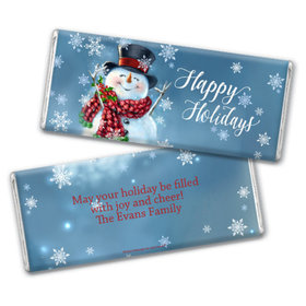 Personalized Christmas Jolly Snowman Chocolate Bar & Wrapper