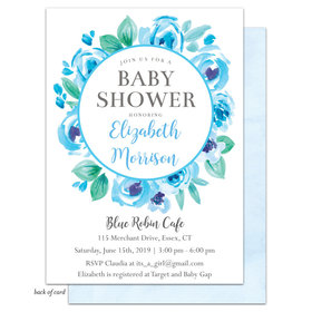 Bonnie Marcus Collection Personalized Floral Wreath Invitation - Blue