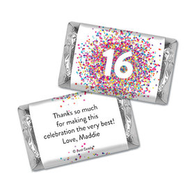 Personalized Birthday Hershey's Miniatures Sweet 16 Confetti Burst