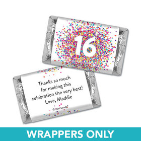 Personalized Birthday Hershey's Miniatures Wrappers Sweet 16 Confetti Burst