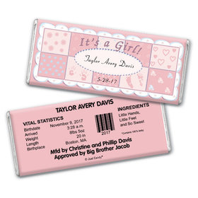Baby Girl Announcement Personalized Chocolate Bar It's a Girl Quilt