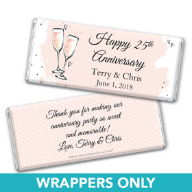 Personalized Bonnie Marcus Anniversary Bubbly Party Pink Chocolate Bar Wrappers Only