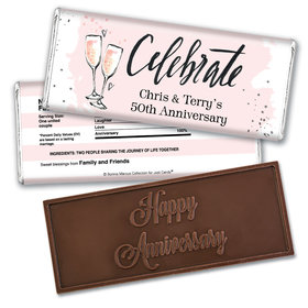 Bonnie Marcus Collection Personalized Embossed Chocolate Bar Chocolate and Wrapper Cheers to the Years Anniversary Favor