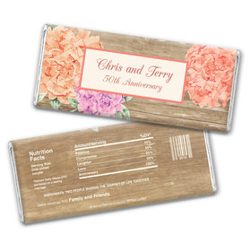 Bonnie Marcus Collection Personalized Chocolate Bar Wrappers Chocolate and Wrapper Blooming Joy Anniversary Party Favor