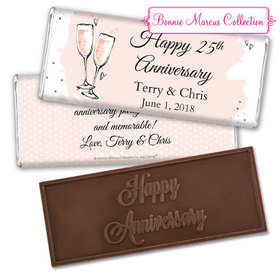 Personalized Bonnie Marcus Anniversary Bubbly Party Pink Embossed Chocolate Bar & Wrapper