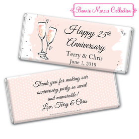 Personalized Bonnie Marcus Anniversary Bubbly Party Pink Chocolate Bar & Wrapper