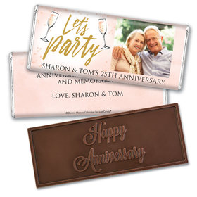 Bonnie Marcus Collection Personalized Embossed Chocolate Bar Chocolate and Wrapper Champagne Party Anniversary Favor