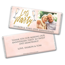 Personalized Bonnie Marcus Anniversary Champagne Party Chocolate Bar & Wrapper