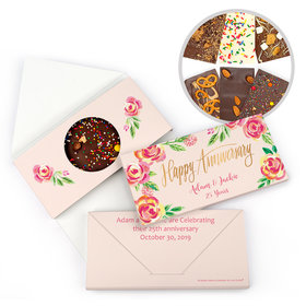 Personalized Bonnie Marcus Anniversary Pink Flowers Gourmet Infused Chocolate Bars