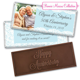 Personalized Bonnie Marcus Anniversary Lace Linen Embossed Chocolate Bar & Wrapper