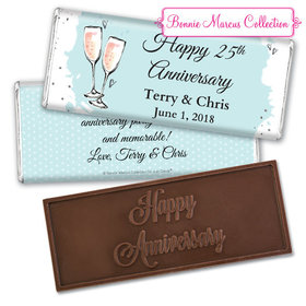 Personalized Bonnie Marcus Anniversary Bubbly Party Blue Embossed Chocolate Bar & Wrapper