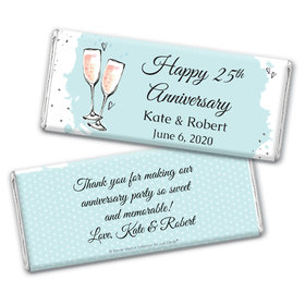 Personalized Bonnie Marcus Anniversary Bubbly Party Blue Chocolate Bar Wrappers Only