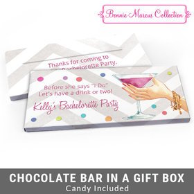 Deluxe Personalized Bachelorette Party Here's to You Chocolate Bar in Gift Box
