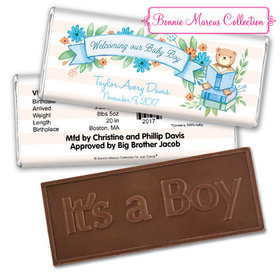 Bonnie Marcus Collection Personalized Embossed Chocolate Bar Chocolate and Wrapper Story Time Boy Birth Announcement